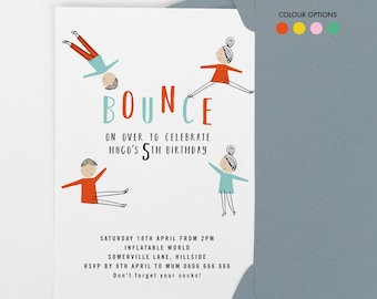 Bounce birthday invitation, jump birthday party invite,  play centre kids party invite, 4th birthday 5th birthday, 6th birthday