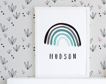 Personalised name printable, custom name print, nursery wall art, kids wall art, boys name print, kids name print, rainbow print