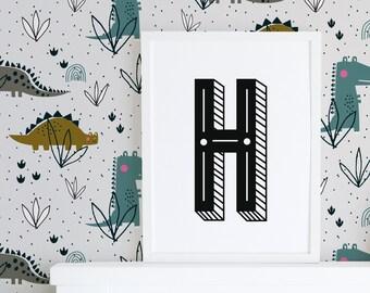 Personalised name printable, initial print, nursery wall art, kids wall art, typography print, kids name print, letter print
