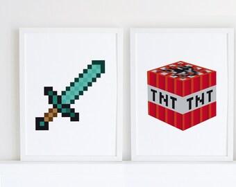 Minecraft printable set, minecraft print, gaming print, video game art, boys room decor, fan art poster