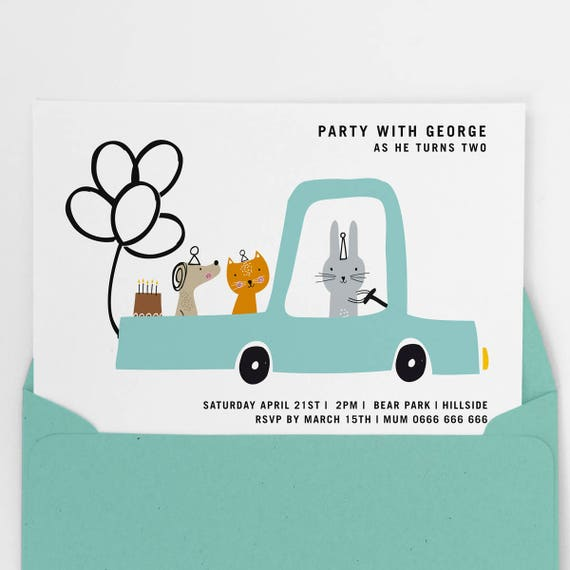 Boys Party Invite First Birthday Invitation