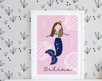 Mermaid name sign, mermaid printable, nursery wall art, personalised name print, girls name print, mermaid print