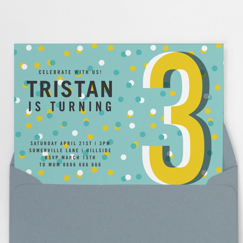 Boys Third Birthday Invitation 3rd Invite