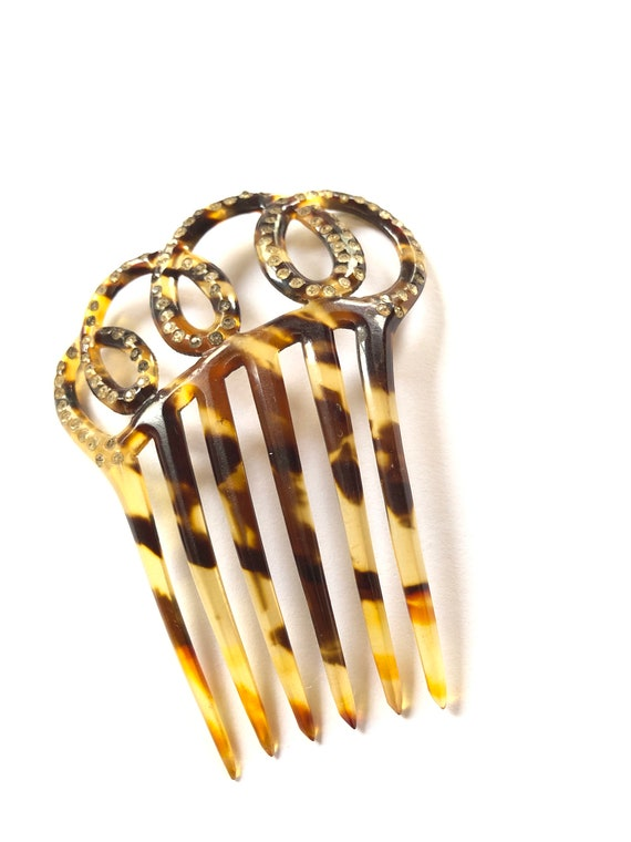 Vintage Hair Comb, Faux Tortoise Shell Hair Comb,