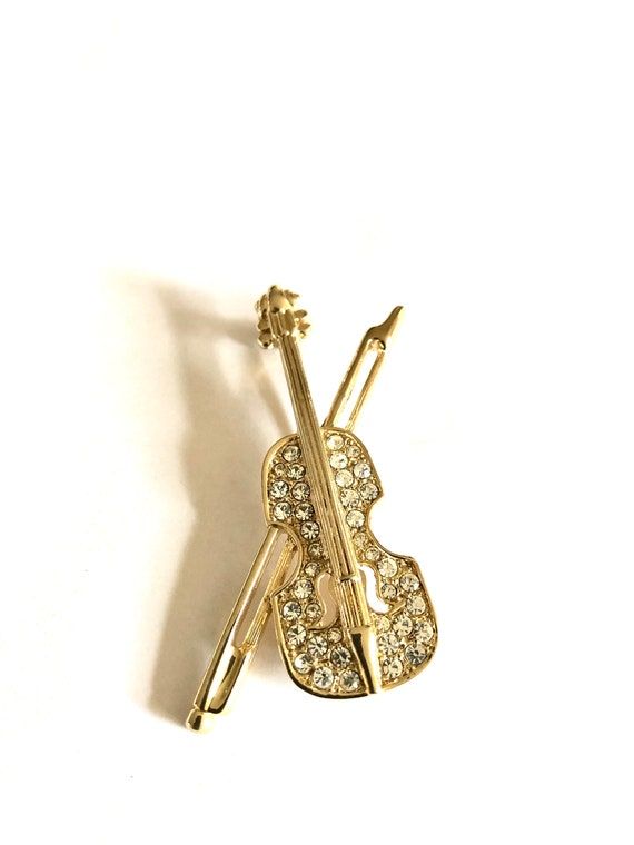 1980s Crystal Rhinestone Gold Plate Musical Instrument Brooch