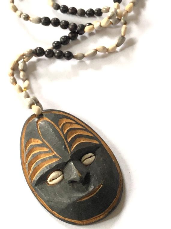 Vintage Carved Tribal Mask Necklace, Statement Tri