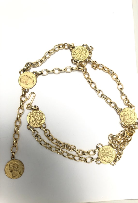 Vintage chain belt with circle coin charm, Chunky