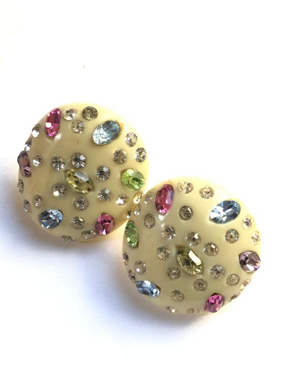1950's Vintage Designer Earrings, Weiss Rhinestone