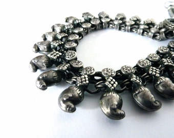 Vintage Tribal Necklace, Silver Mango Bead Necklace, Ethnic Jewellery, Vintage Boho, Hippy Chic Jewellery