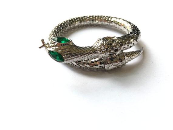 Chunky Silver Tone Snake Bangle, 1960's / 70's Eme