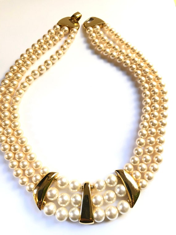 Signed Vintage Napier Faux Pearl Necklace, Pearl S