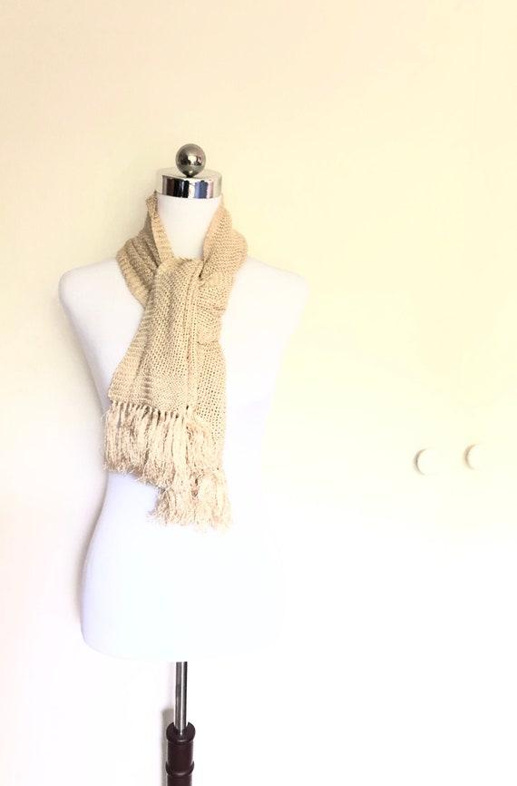Rare 1920's Knit Silk Scarf, Cream Opera Scarf, Me