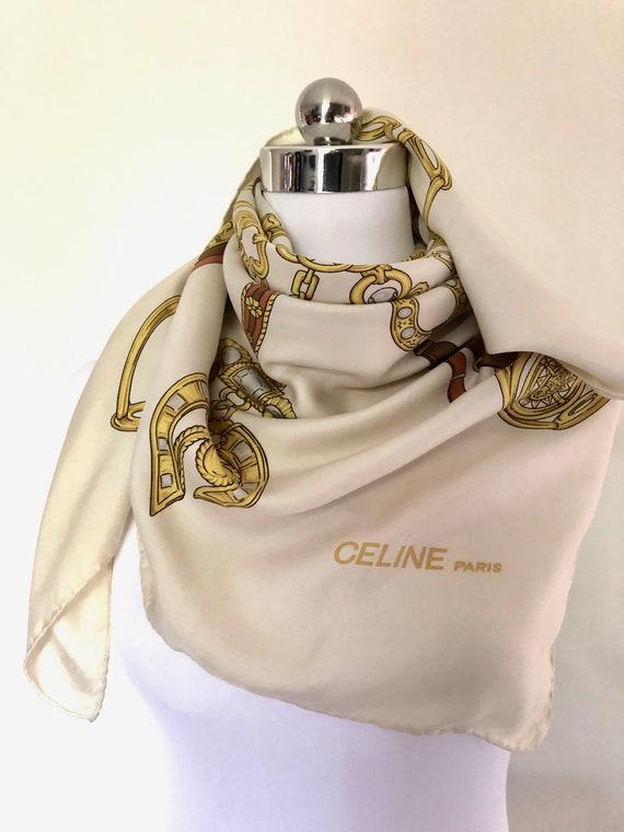 Celine Silk Scarf , Vintage Luxury French Designer
