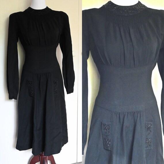 Gorgeous 1930's Black Crepe Beaded Dress, Immacula