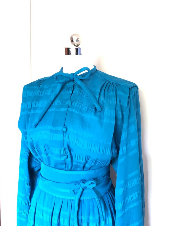 Prue Acton Dress, 1980's Blue Dress, Aussie Design
