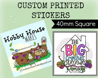 Custom stickers Design - Plus x120 Professionally Printed 40mm SQUARE Stickers