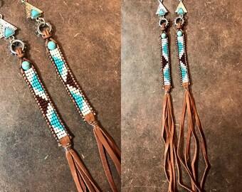 77ce3245c20e Long Buckskin Leather Earrings