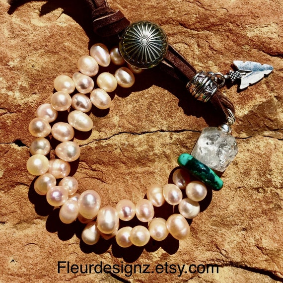 Western Concho Bracelet Pearl And Turquoise