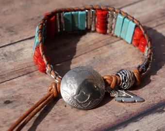 Leather Wrap Cuff Bracelet, Red Coral and Turquoise, Western