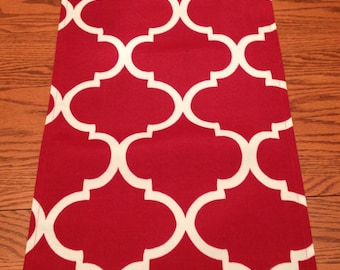 Red Table Runner with White Screen Printed Design - Handmade
