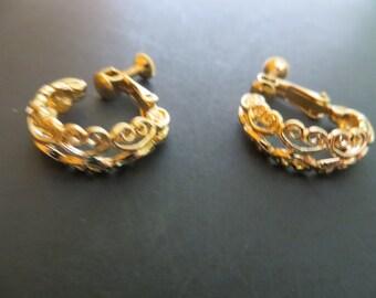 Napier Filigree Hoop Earrings, Screwback Style