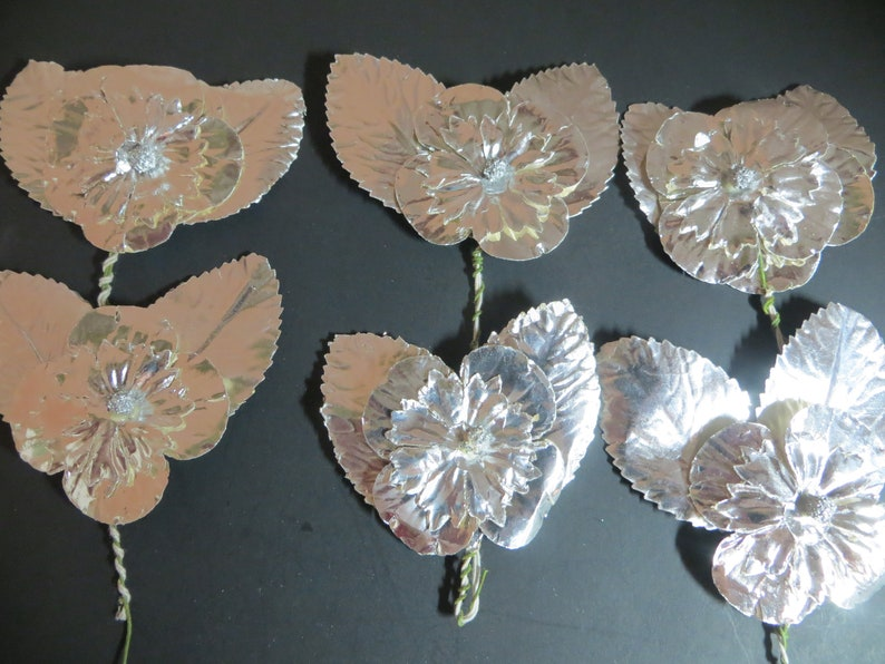 Silver Paper Foil CorsageBoutonniere Vintage Made in Japan Double Leaf with Flower 2 Flowers