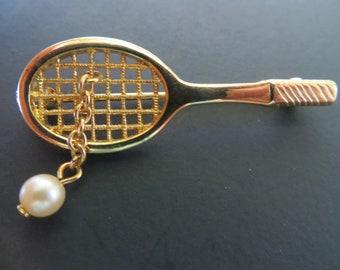 Avon Tennis Racket and Ball Pin