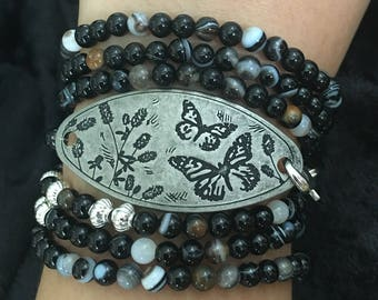 Black Agate Wrap Around Bracelet with Butterfly Design Pendant