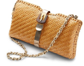 fa98ffc476e vintage 70s/80s ITALIAN woven raffia chain strap metal & lucite buckle  claso clutch bag