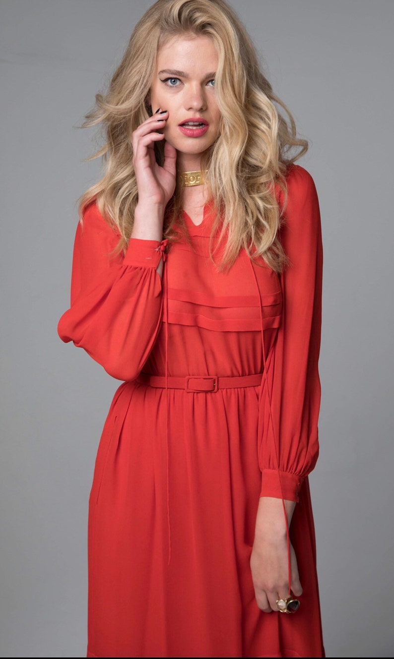 8633c92830 CHRISTIAN DIOR 1977 red dress Haute Couture silk chiffon