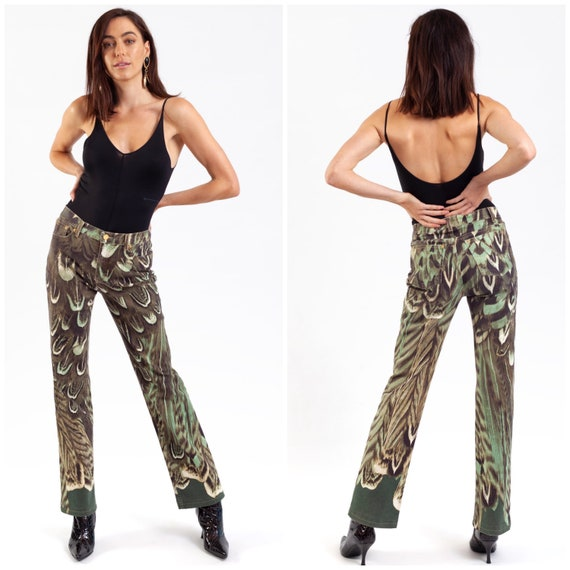 vintage ROBERTO CAVALLI mainline jeans / photo realistic feather print / high waisted / stretch slim fit / boot cut / Y2K / shades of green