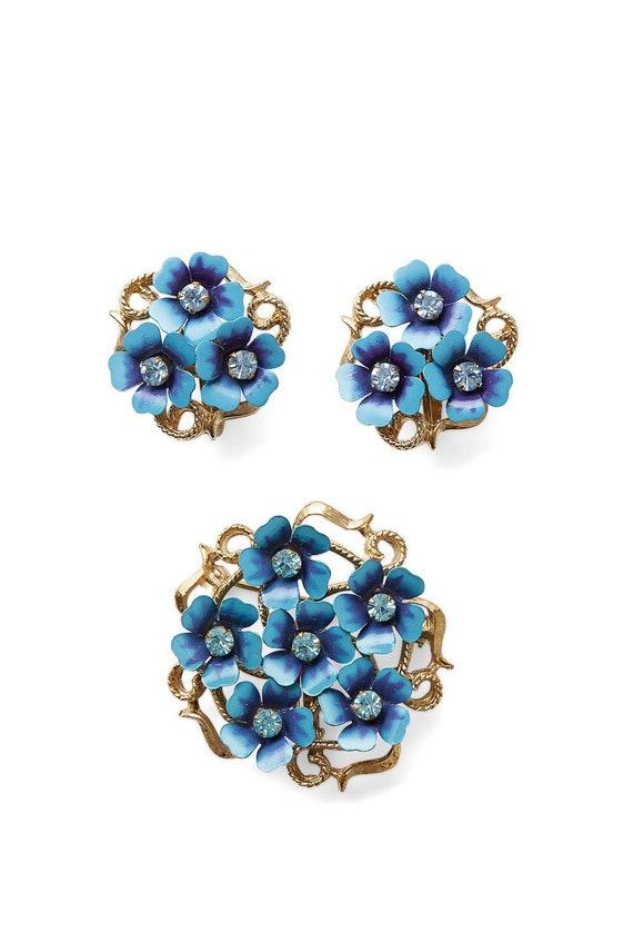 Vintage 50s/60s AVON floral flower enamel crystal