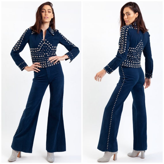iconic vintage 70's RONCELLI studded suit / flared