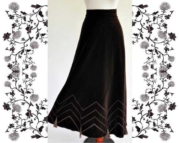 """1970's Vintage """"Lucie Linden"""" Maxi Velvet Skirt"""