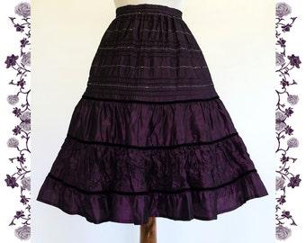1970's Vintage Pleated Taffeta Skirt