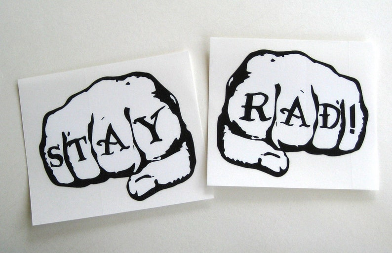 STAY RAD large fists sticker decal old school image 0