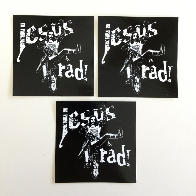 Jesus Is Rad sticker decal pack set of 3 image 0