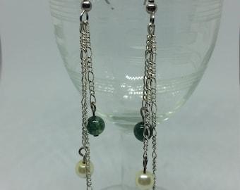 Moss Agate, Glass Pearl and Red Agate Dangle Earrings