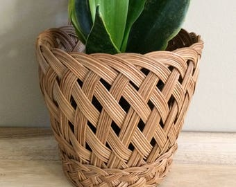 vintage woven basket / planter / wall decor