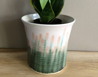 vintage pottery planter / pink and green