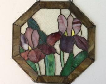 vintage stained glass wall decor/ iris / sun catcher