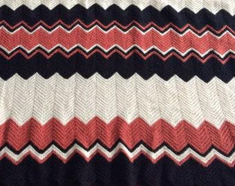 vintage chevron afghan throw blanket