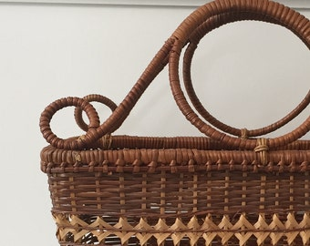 Chaoching Products woven wicker basket with handles / magazine rack / picnic basket / market bag
