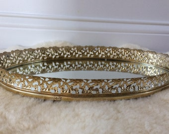 vintage gold  plated filigree mirror / vanity tray