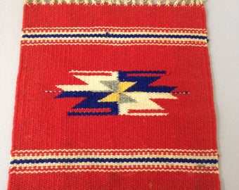 vintage handwoven textile / rug / wall hanging