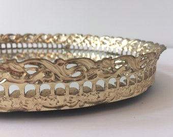 gold plated filigree mirror / vanity tray