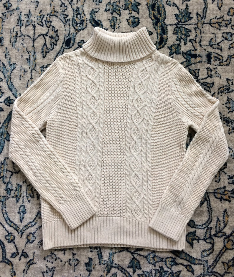 f7e6345cf8130 Jeanne Pierre cream cable knit turtleneck   fisherman style