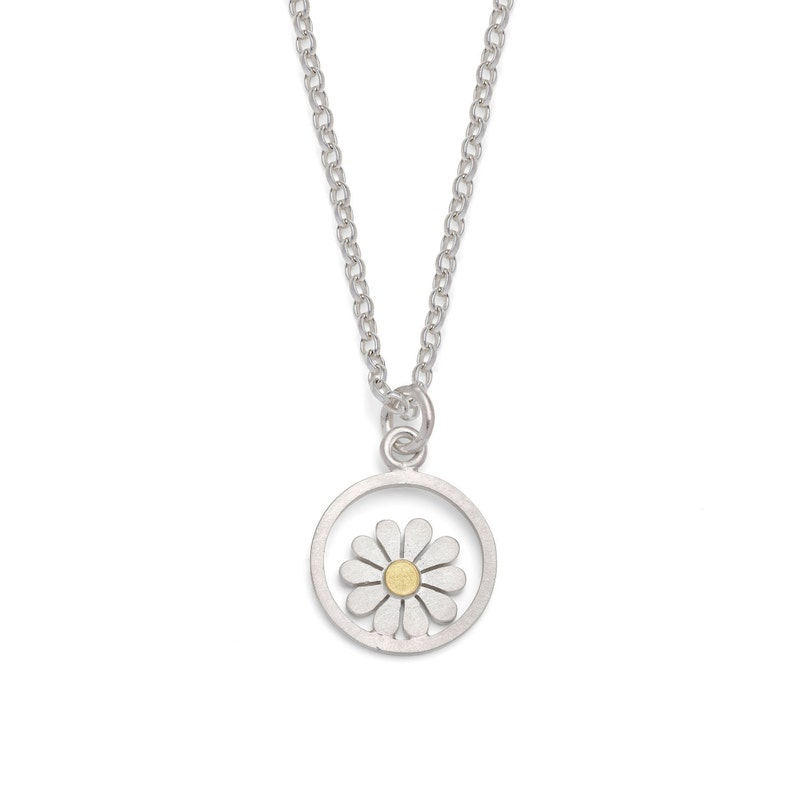 e40543857eeaf Teeny framed daisy pendant, in silver and 18ct gold