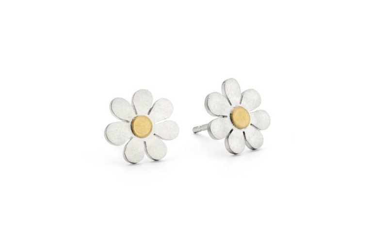 8e7f2924d3f76 Forget me not earrings in silver and 18ct gold
