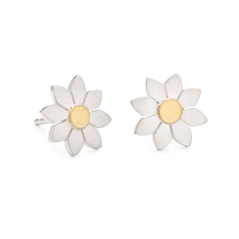 1c03b7b2aefe2 Dahlia flower earrings in silver and 18ct gold